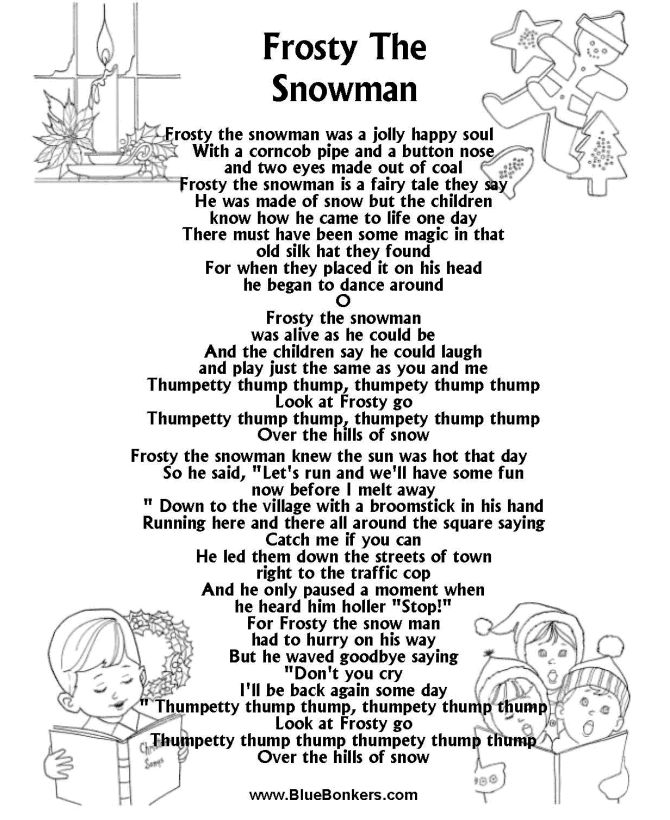 picture about Frosty the Snowman Sheet Music Free Printable known as Printable Xmas Carol Lyrics sheet : Frosty the Snowman