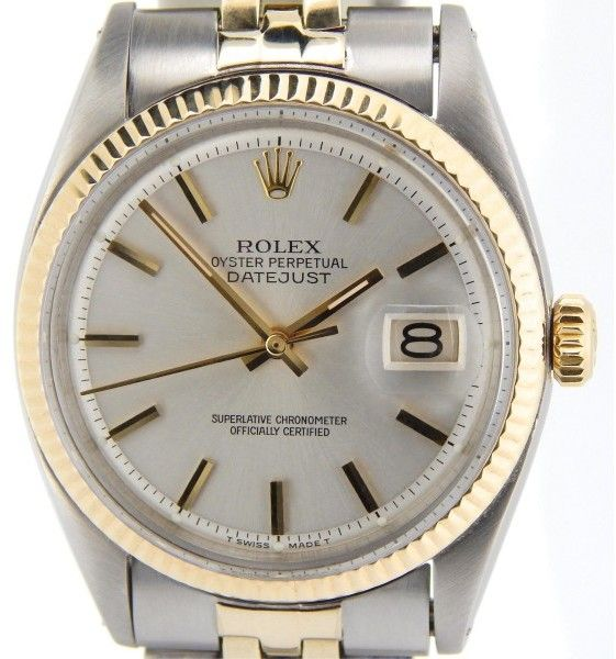 f712eed98f3 Rolex 14K Gold Stainless Steel Datejust w Silver Dial   Jubilee Band Mens  Watch