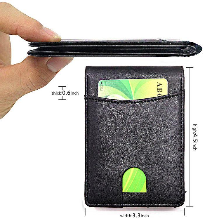 Easyoulife Mens Slim Wallet RFID Blocking Front Pocket Wallet Minimalist Thin Credit Card Holder Wallet Crosshath Black