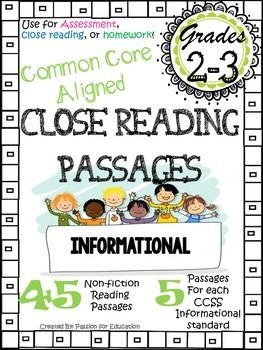 Close Reading Passagesreading Assessments 2nd3rd Grade