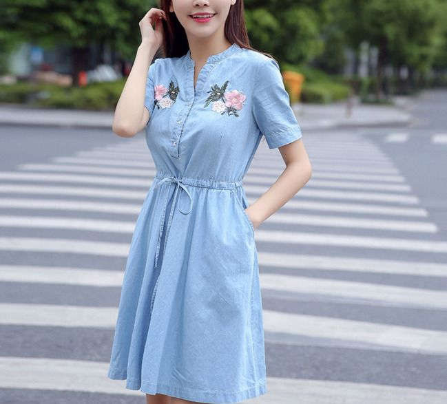 Summer Women'sShort-sleeved Shirt-Style Denim Dress New Korean Embroidery Waist #fashion #clothing #shoes #accessories #womensclothing #dresses (ebay link)