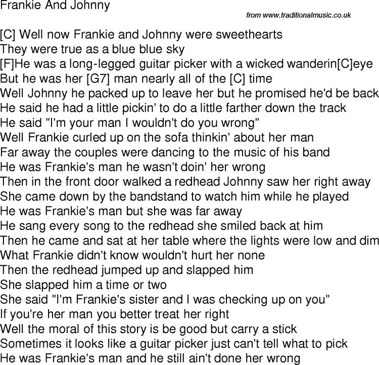 Old Time Song Lyrics With Chords For Frankie And Johnny C