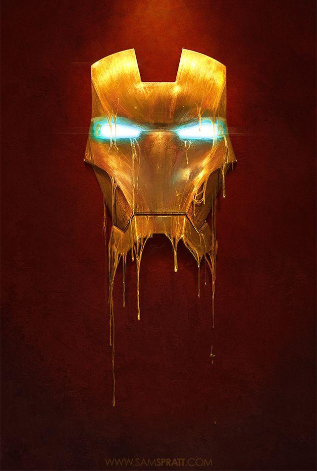 Marvel Comics Gilded Iron Man And Loki Illustrations by Sam Spratt