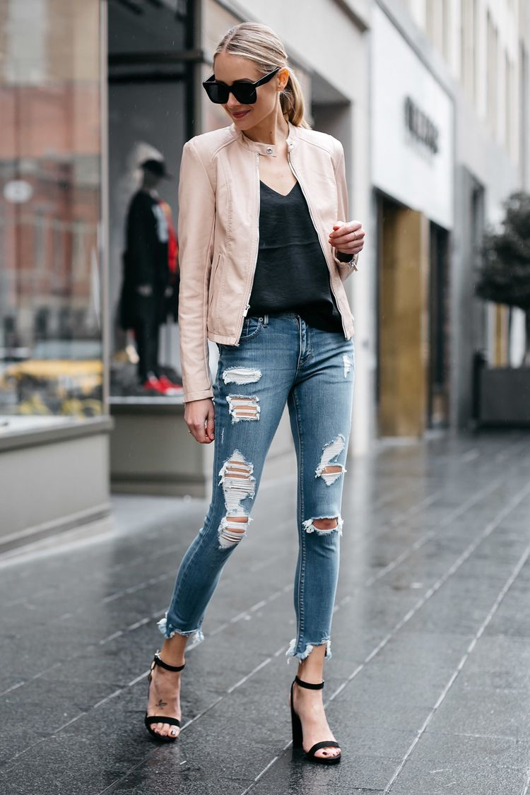 cdf0d839c61 Blonde Woman Wearing Express Blush Leather Jacket Denim Ripped Skinny Jeans  Black Ankle Strap Heeled Sandals Fashion Jackson Dallas Blogger Fashion  Blogger ...