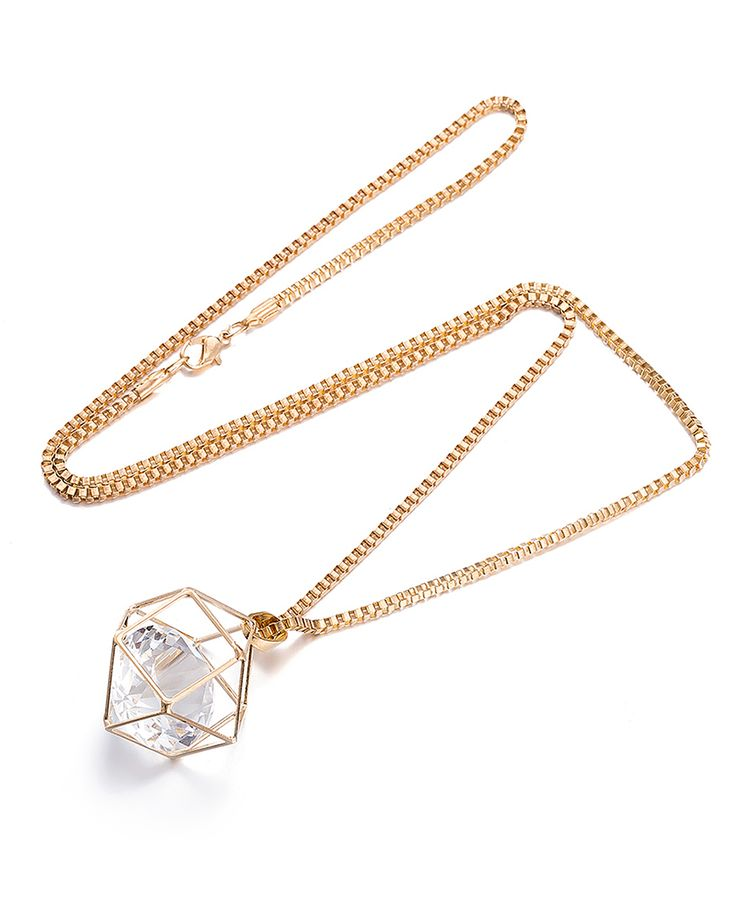 cubic zirconia goldtone hectagon pendant necklace
