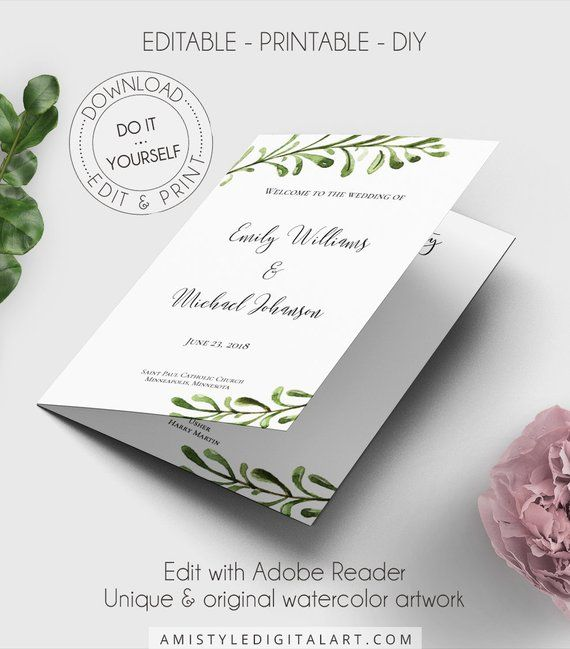 greenery folded wedding program booklet editable program