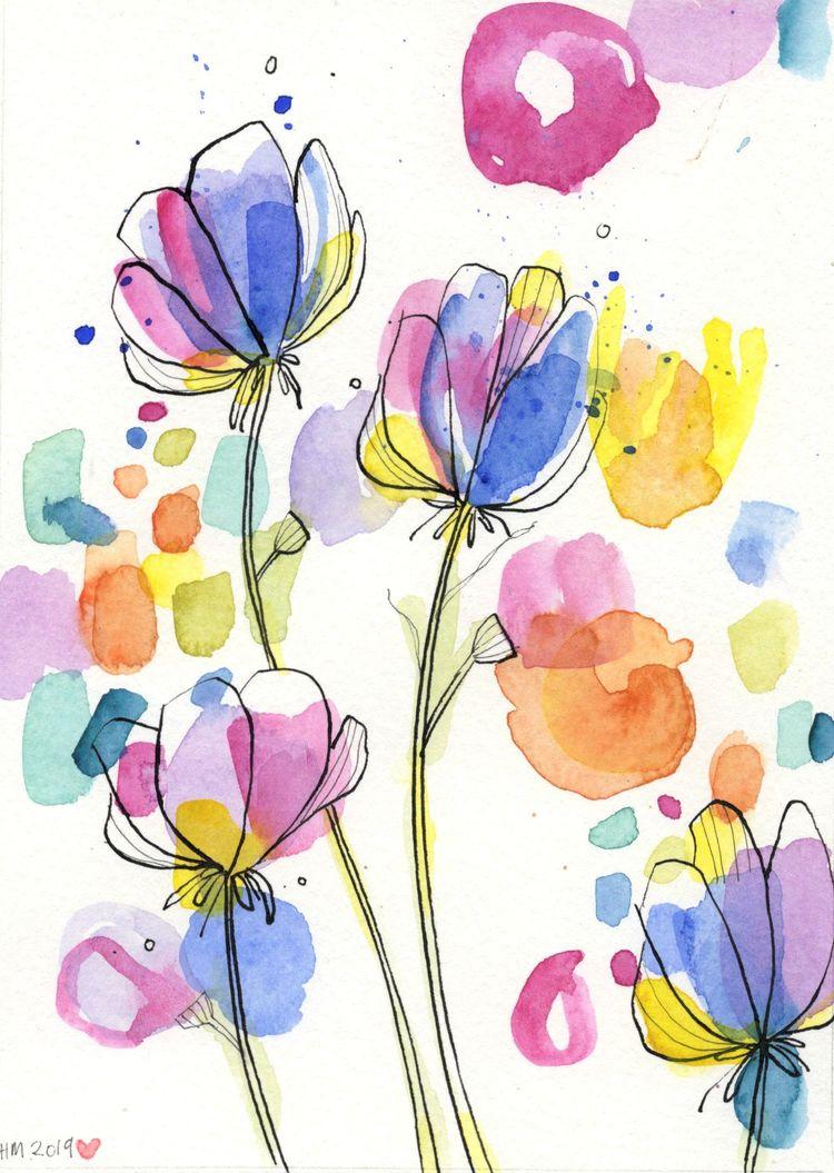 #SweetPeasWatercolor - #FloralWatercolour Original - #AbstractFloral - #WildflowerPainting - Abstract Original Art, #FlowerPainting #modernwatercolor