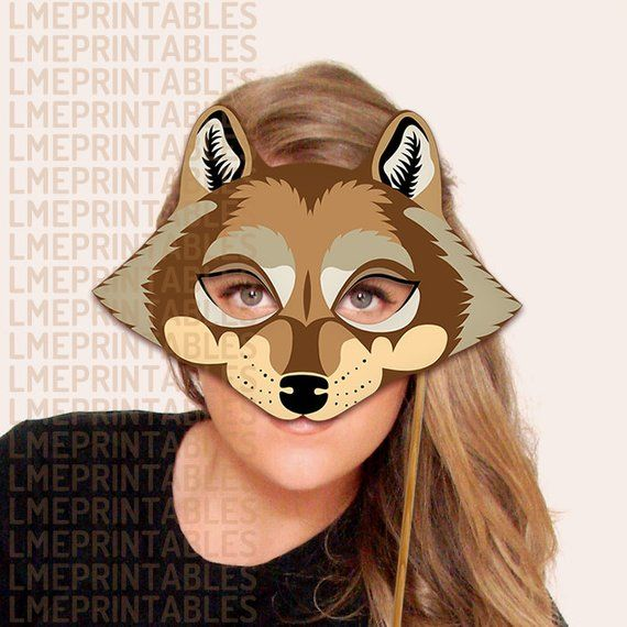 graphic about Wolf Mask Printable named Wolf Mask Printable Brown Animal Masks