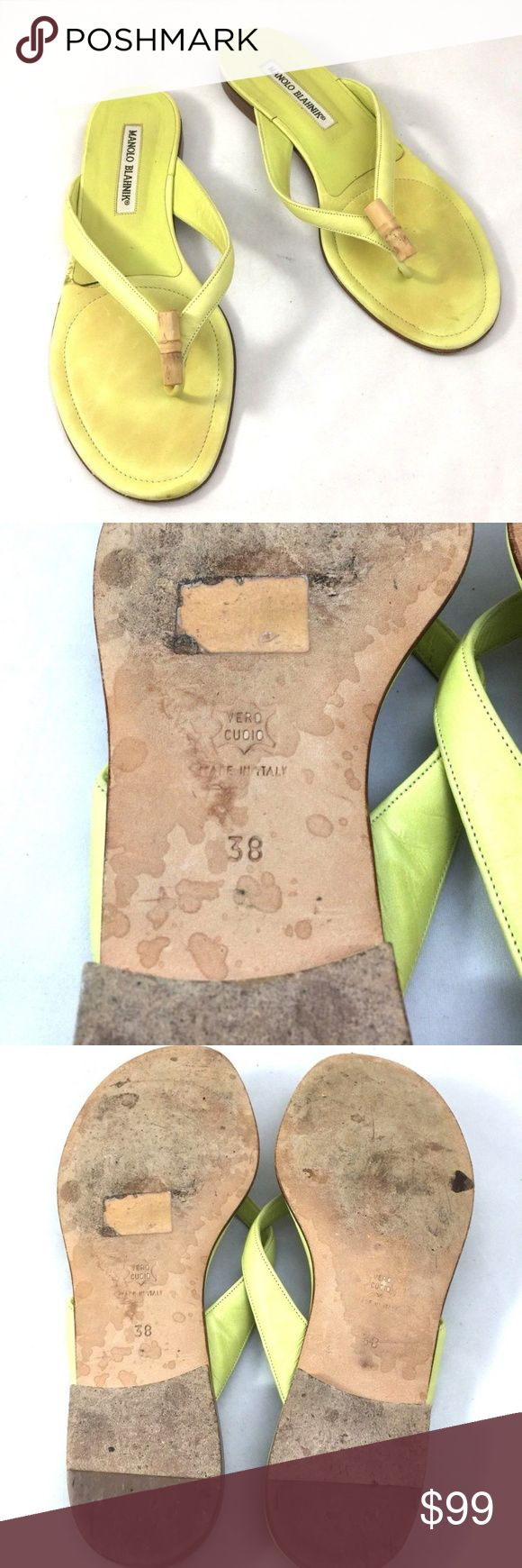 ed02a9626 Manolo Blahnik Lime Green Bamboo Flip Flop Slide 8 Lime green leather Manolo  Blahnik thong sandals with bamboo accent at vamps