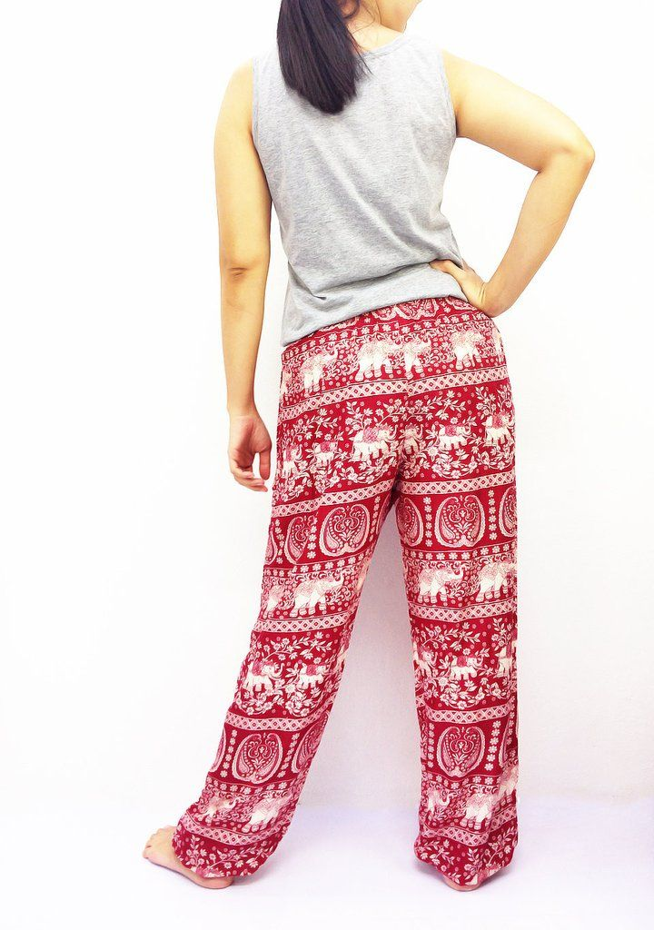 82cf62d9d028 ST120 Rayon Bohemian Trousers Hippie Boho Pants Elephant Red. ST120 Thai  Women Clothing ...