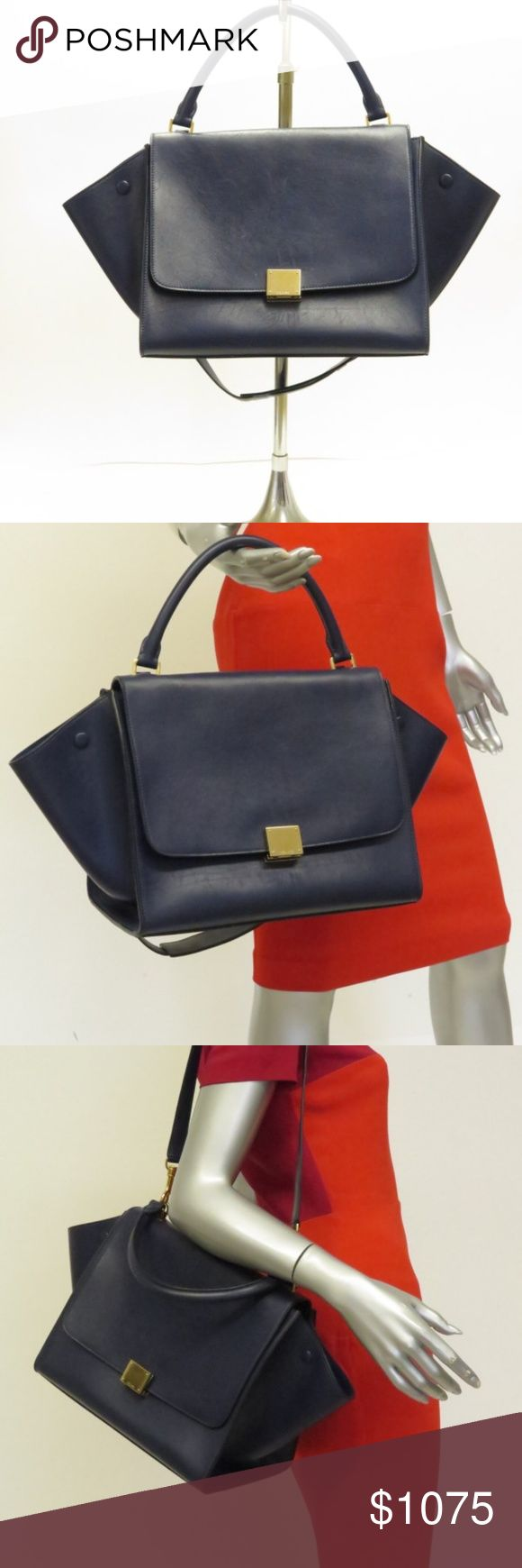Celine Trapeze Medium Shoulder Bag Navy d8360b7fad