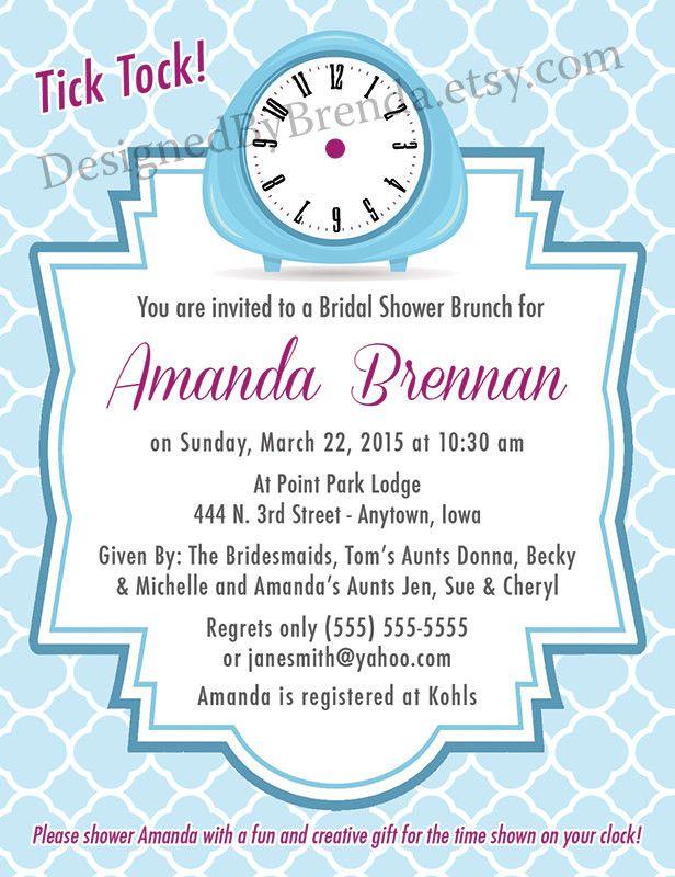 68b07d06e48c Retro Around the Clock Bridal Shower Invitation - Blue Time of Day Wedding  Shower