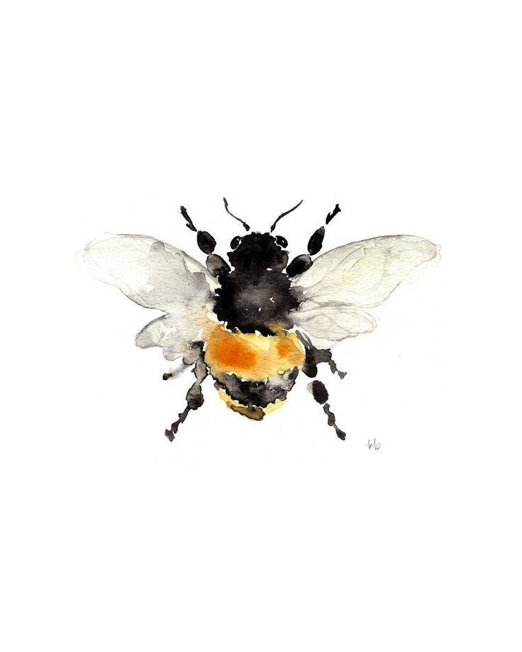 Bumble Bee - Watercolor #watercolor #aquarelle