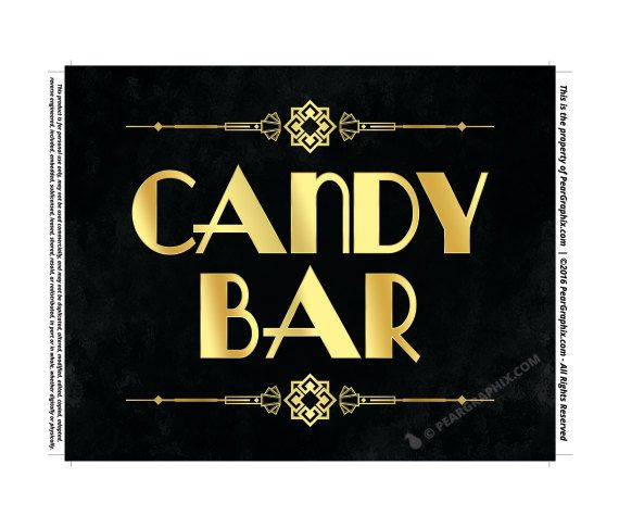 Candy Bar Sign, Printable Gatsby Wedding Bridal Shower Ann