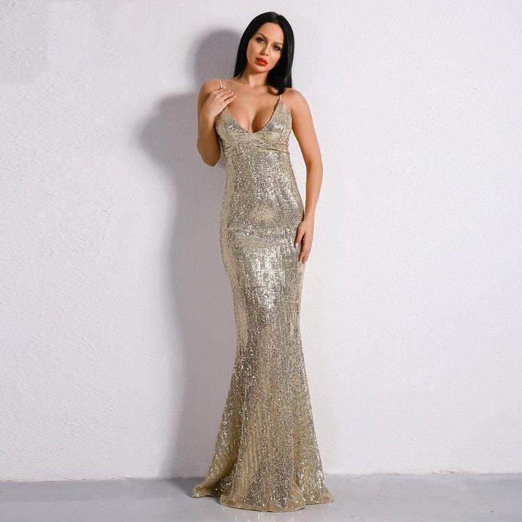 6848603c225 Prima Donna Gold Sequin Fishtail Maxi Dress