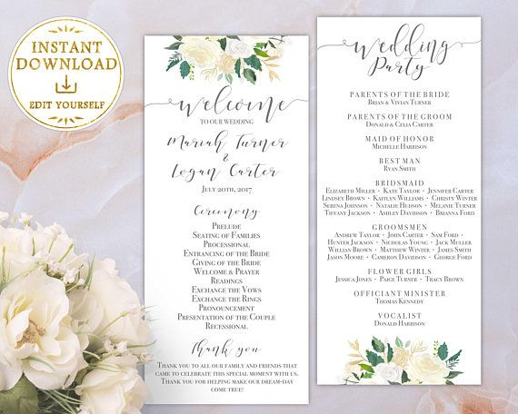 wedding program printable template order of service ivor