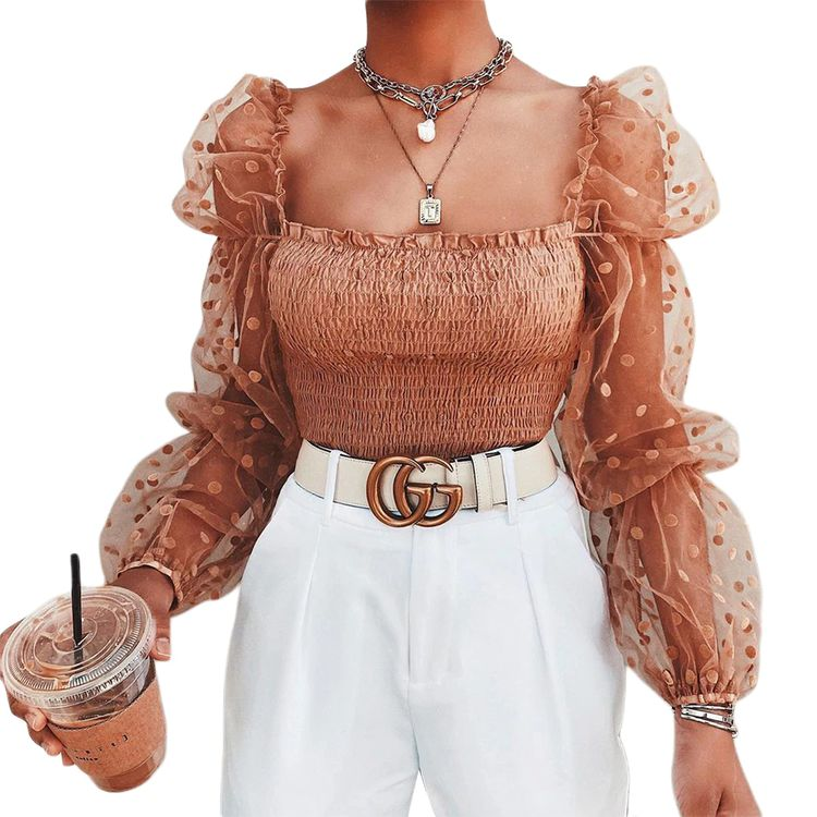 Wrinkled Backless Shirt Mesh Puff Sleeve Dot Top Blouse SF – loveitbabe