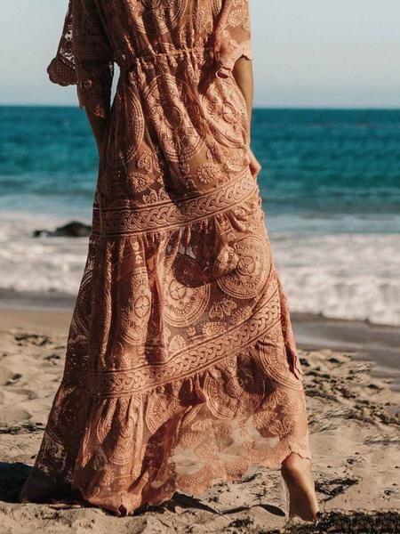 6fb173bc4f Lace Belted Cover-up Maxi Dress