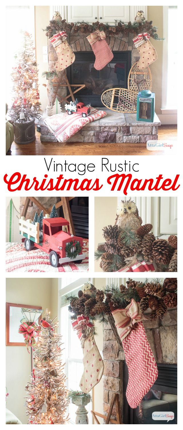 gorgeous vintage rustic christmas mantel decorations plus more christmas decorating ideas from other bloggers