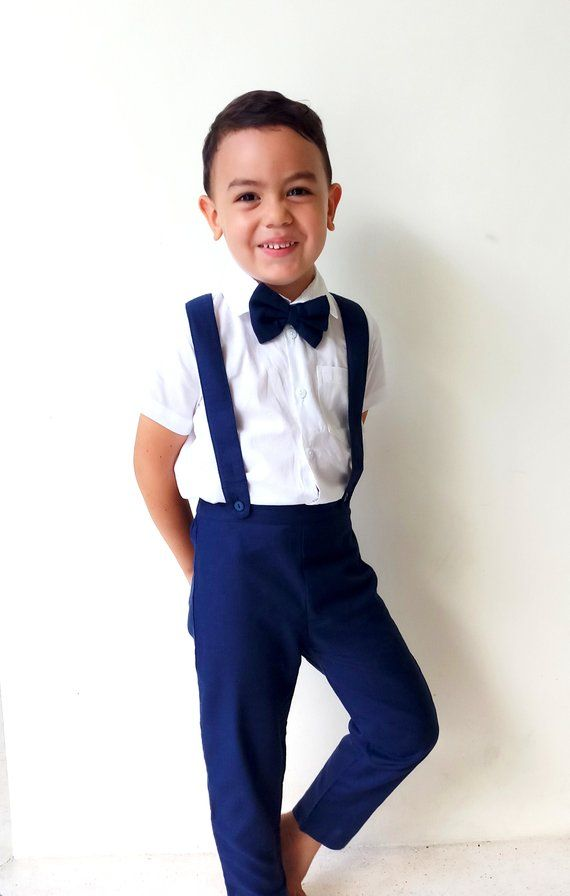 31ae5ef5f3 Boy Christening Outfit - Navy ,Suspender pants, Boy Linen Suit, Page Boy, Ring  bearer, Baptis