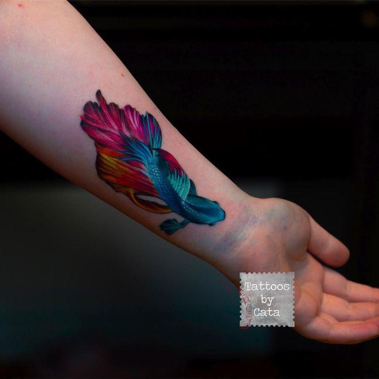 7358ebab3b159 Surealistic betta fish #tattoo #tattoosbycata #fish #fishtattoo #bettafish  #surrealism #