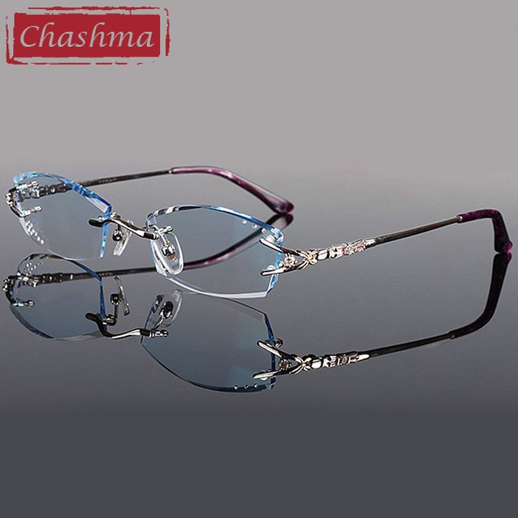5de155e960 Chashma Brand Eyeglasses Diamond Trimmed Rimless Glasses Titanium  Fashionable Lady Eyeglasses Spectacle Frames Women Review