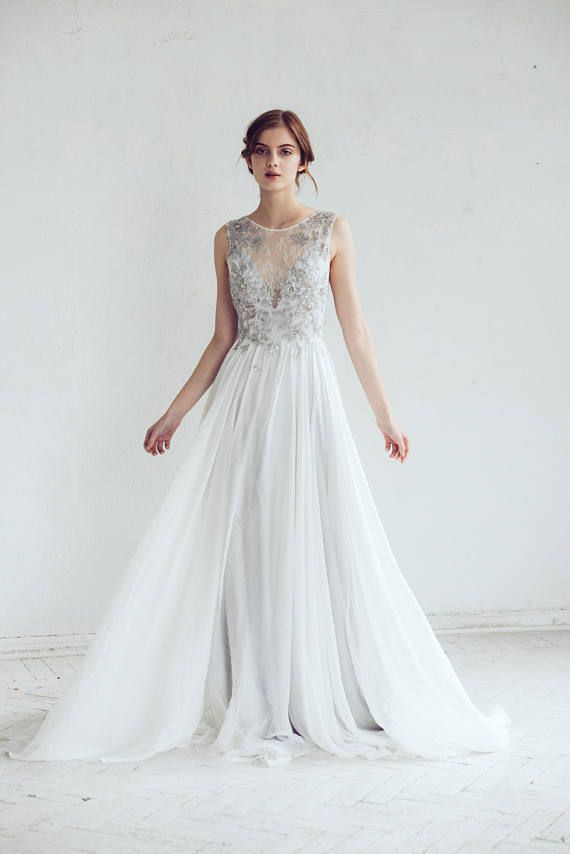 22b6ceda66 Silver gray wedding dress    Lobelia new  Silk wedding gown This is sooo  beautiful!!