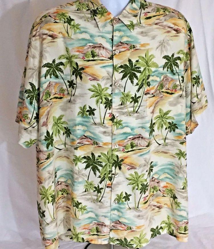 f222fdbc 2XB Tori Richards Hawaiian Shirt Big Tall Aloha Volcano Palm Tree Abalone  Button #ToriRichard #