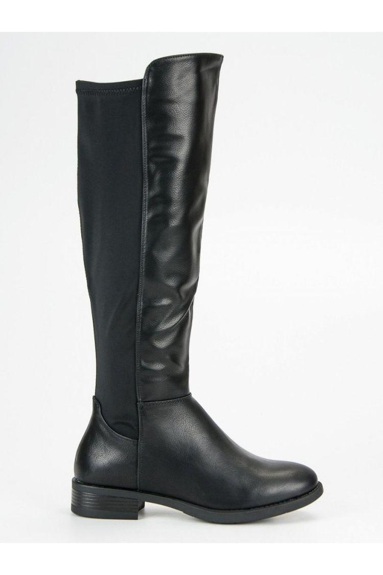 244d56d9114c1 Čierne čižmy pod koleno na nízkom podpätku CnB