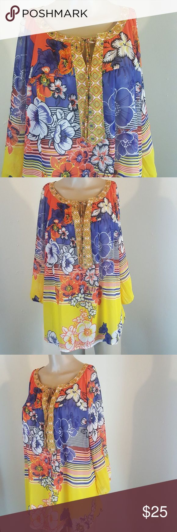 Fig And Flower Women S Blouse Floral Colorful Size