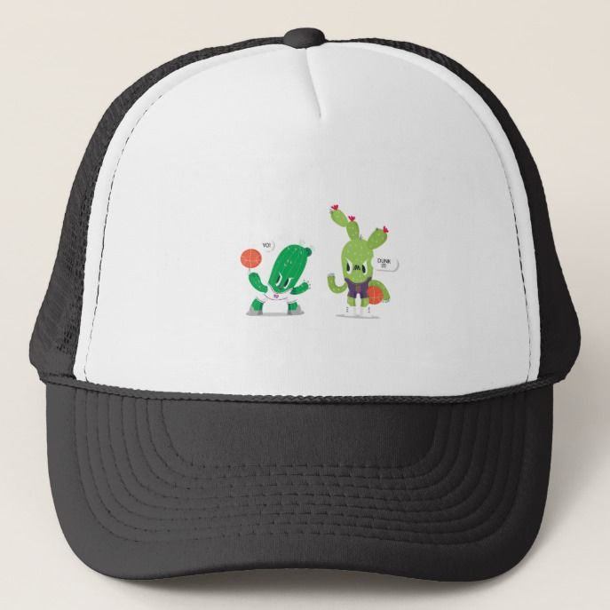 Funny Cactus Character Basketball Trucker Hat  411a0048104d