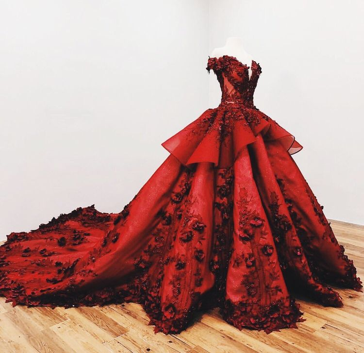 2018 Chic Ball Gowns Prom Dresses Red Off-the-Shoulder Long Prom Dress Evening Dresses