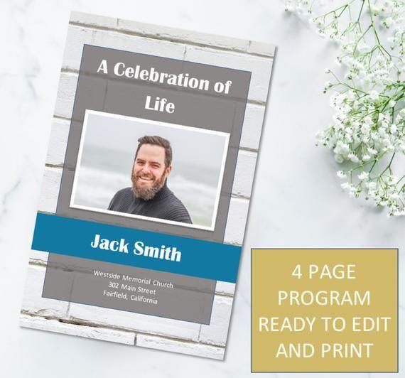 gray and white brick memorial program template obituary p