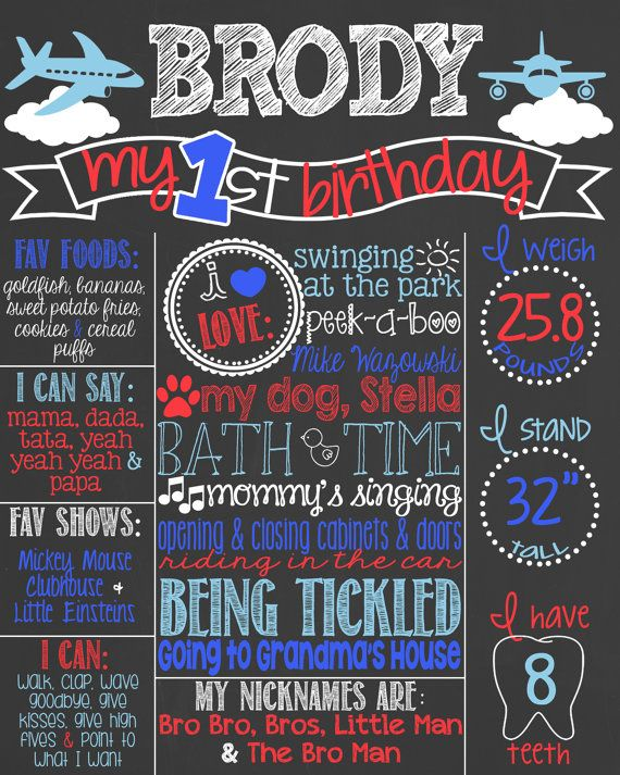airplane birthday theme first birthday chalkboard poster p