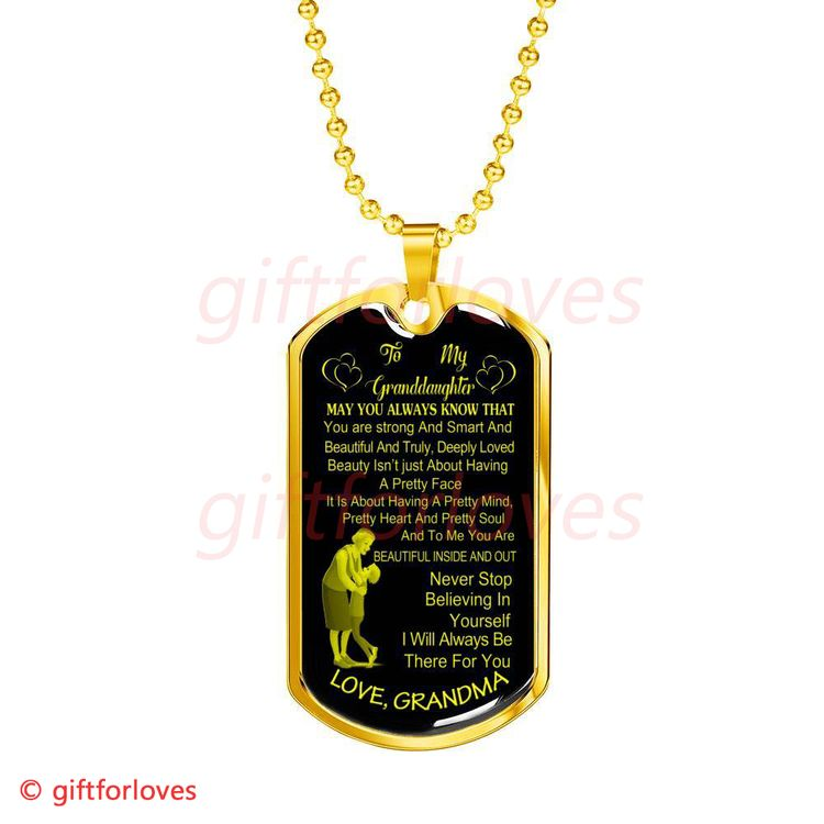 To My Granddaughter Dog Tag Birthday Gift For From Grandma And 65GDBG