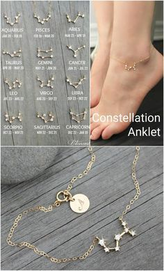This dainty 14k gold filled anklet is made with a celestial constellation connector, set with miniature cubic zirconia diamonds. A custom stamped initial disc is attached by the clasp (so there is a little something to see on the other side too :)).  Please select SIGN and INITIAL from