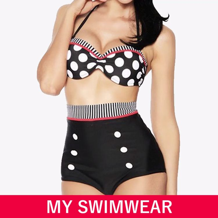 Retro Pin-Up High-Waisted Swimsuit - 4 Styles