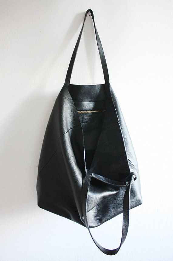 0568ac8adb92 LILA Large Everyday Black Leather Tote Bag by MISHKAbags on Etsy
