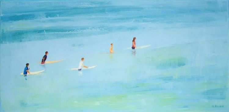 Agnieszka Kozień Figurative Painting - Surfers 20- Xxi Century Oil On Canvas Ocean 2018 Other Art Style