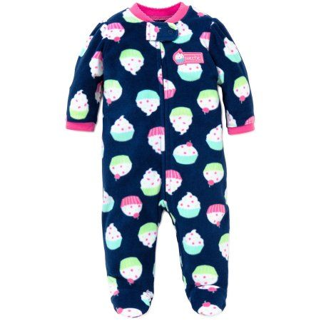 04e23fa306264 Little Me Cupcake Blanket Sleeper Footie Winter Pajamas Footed Pajamas Navy  9M For Baby Girls Infant