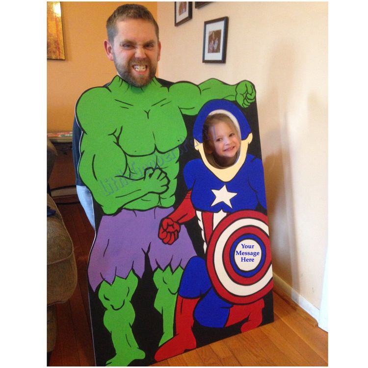 Custom Superhero Duo Cutout Double Face Hole Standup Foam Board Personalized Hulk And Captain America Character By Littlegoobersparty On Etsy