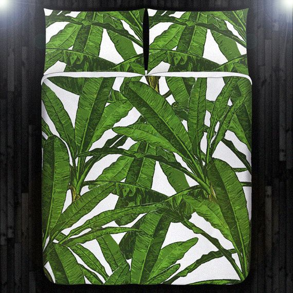 Tropical Jungle Palm Banana Leaf Bedding Duvet Cover Queen