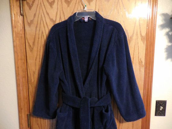 Vintage Stan Herman Cotton Terry Cloth ROBE - Vintage Navy Blue Terrycloth  BATHROBE - XL - 25b7bdce6