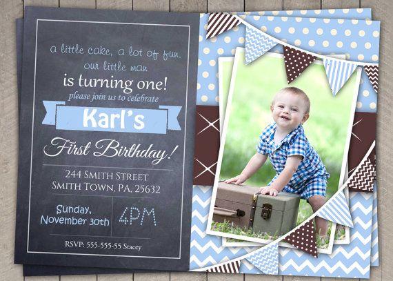 boys 1st birthday invitation baby blue dots chevron p