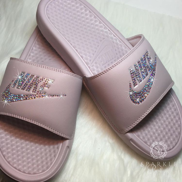 31975cd6c6e6 Nike Slides - Swarovski Nike - Rose Bling Nike - Bedazzled Nike - Nike  Benassi JDI