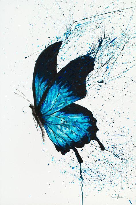 "Saatchi Art Artist Ashvin Harrison; Limited Edition Print, ""Butterfly Dreams"" #art #butterfly #painting #drawings #blue #contemporaryart #prints #ashvinharrison #saatchiart"