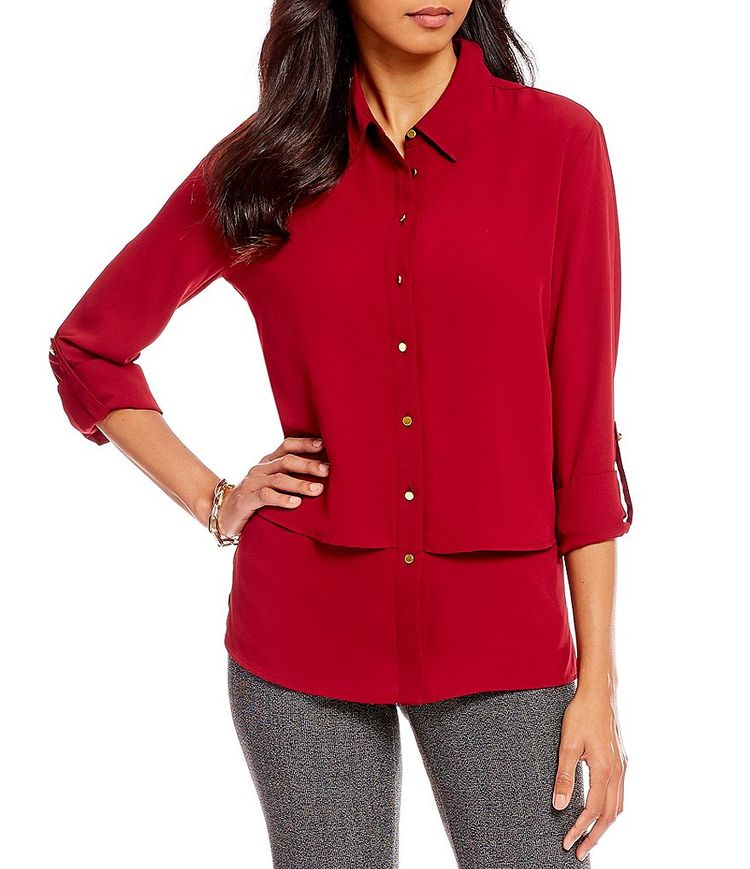 4589612cd5f8b3 Investments Petite Size Long Roll-Tab Sleeve Layered Utility Blouse