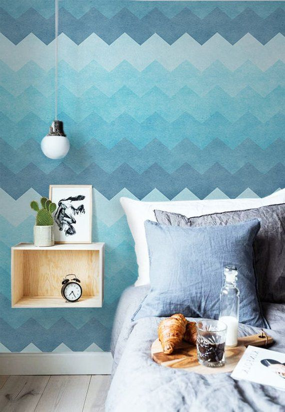 Aqua Zigzag L And Stick Wallpaper Traditional Removable Blue Turqouise Wall Mural Temporary Chilling