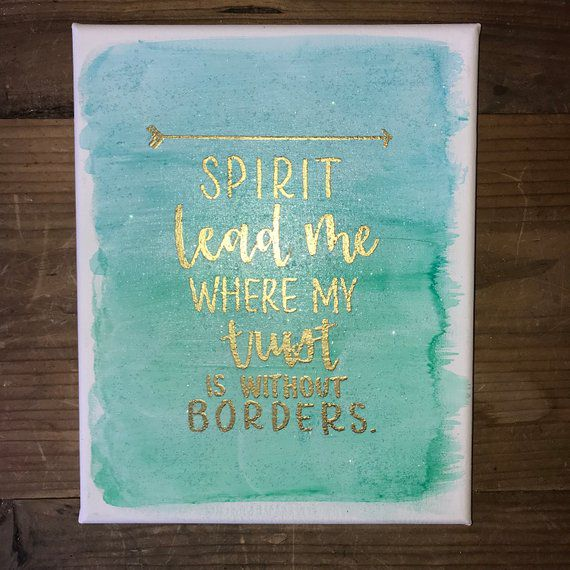 Spirit Lead Me, Oceans Song Sign, Christian, Home Decor, Gold Lettering,