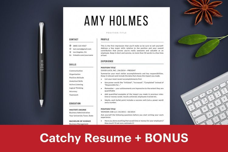 eye catching resume template instant download cv templat